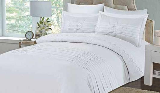 תמונה של מערכת קיץ ריאקטיב - סאטן אל קמט  מיטה זוגית 6 חלקים  | LORD-לבן