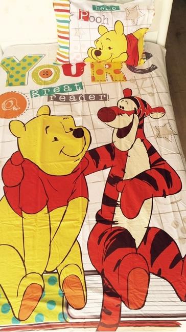 תמונה של סט מצעים למיטת יחיד דגם פו הדוב 100% כןתנה
