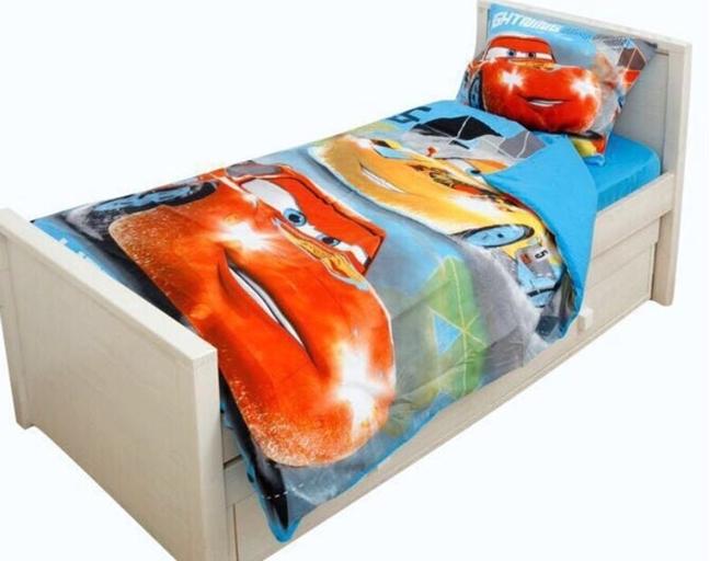 תמונה של מצעים למיטת יחיד דגם מכוניות מבד סאטן אל קמט