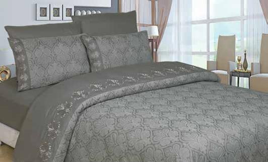 תמונה של סט ענבר זוגי בשילוב ז'קרד מעוטר תחרה- 100% סאטן אל קמט מיטה זוגית 6 חלקים | כסוף