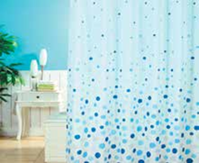 תמונה של וילון אמבטיה  בועות כחול 180x180