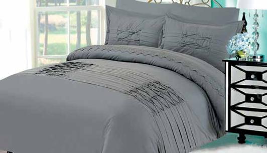 תמונה של מערכת קיץ ריאקטיב - סאטן אל קמט  מיטה זוגית 6 חלקים  |LORD RM1609-אפור