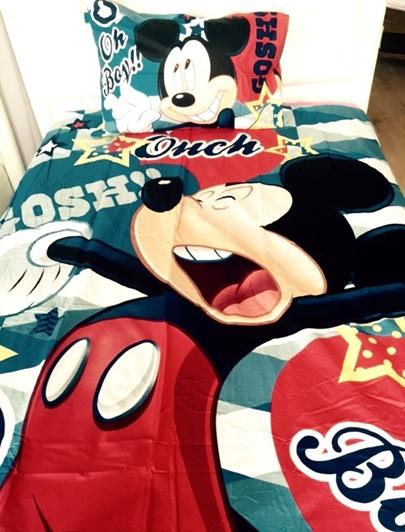 תמונה של סט מצעים למיטת יחיד דגם מיקי מאוס 100% כותנה