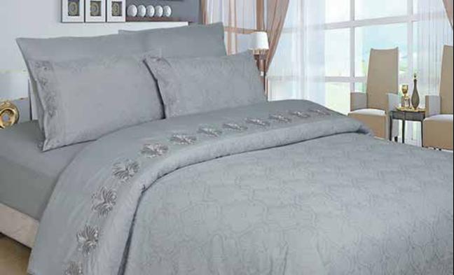 תמונה של סט ענבר זוגי בשילוב ז'קרד מעוטר תחרה- 100% סאטן אל קמט מיטה זוגית 6 חלקים | אפור