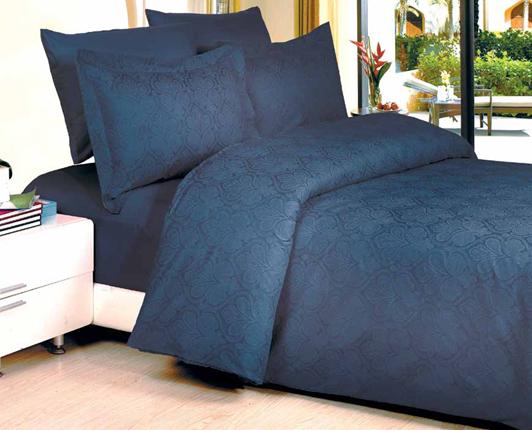 תמונה של סט ענבר זוגי בשילוב ז'קרד- 100% סאטן אל קמט מיטה זוגית 6 חלקים |כחול נייבי