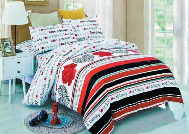 תמונה של סט ביוטי 100% כותנה מיטה זוגית 4 חלקים    LOVE